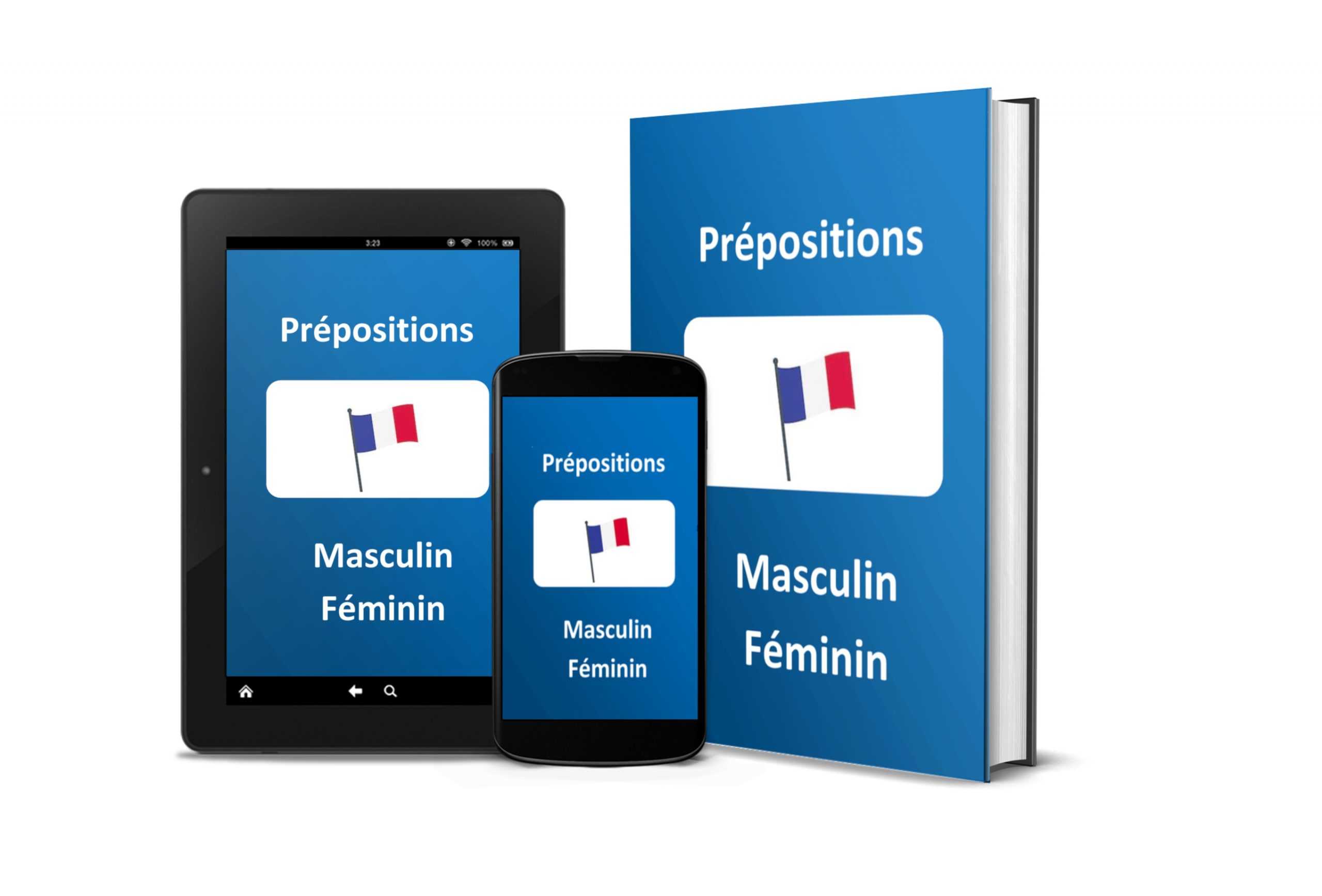 French and English vocabulary prepositions masculine feminine